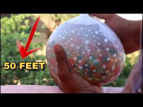 Orbeez Balloon    Dropping Orbeez Balloon from 50 feet Height Amazing Experiment