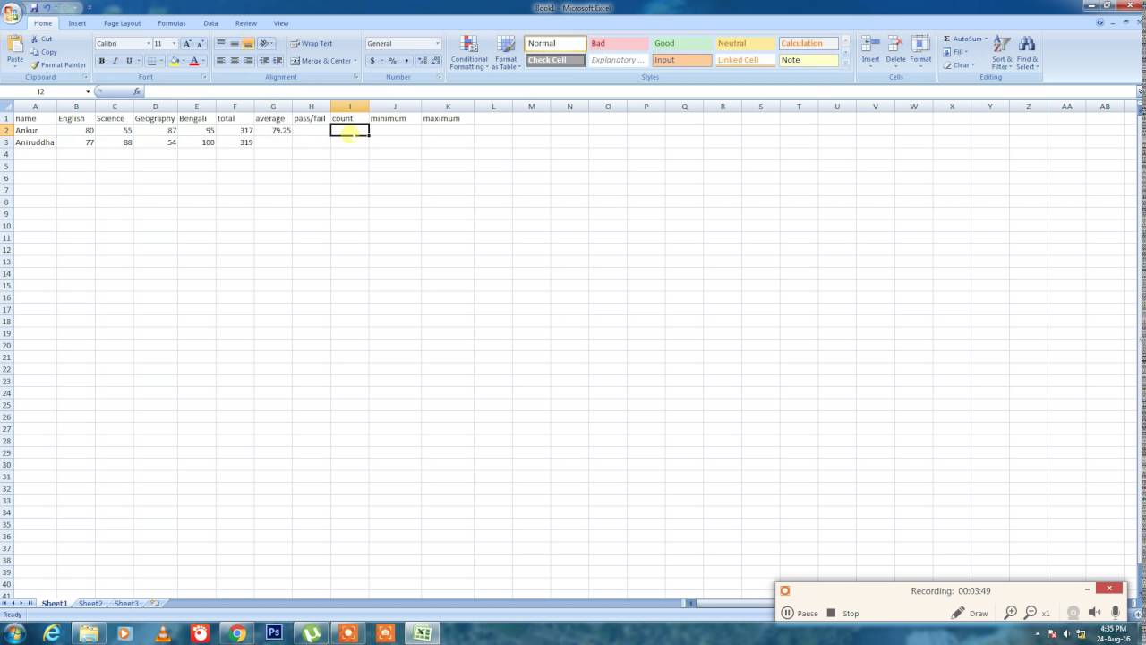 How to totalaverage pass fail in excel youtube how to totalaverage pass fail in excel ccuart Choice Image