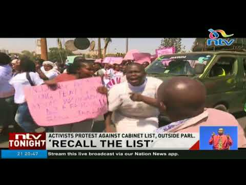 Activists protest against cabinet list, outside parliament