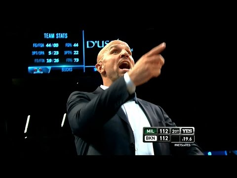 "Former Net's coach Kidd yells ""We know, it's coming to you"" to Joe Johnson on the last second iso play"