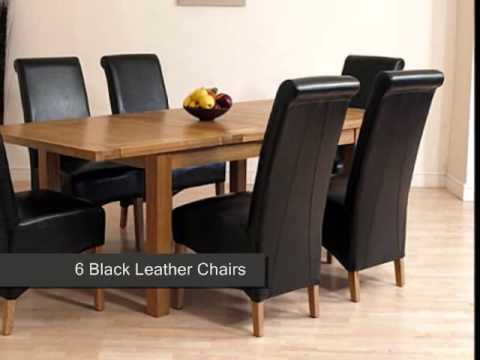seattle-solid-oak-dining-table-&-6-black-leather-chairs