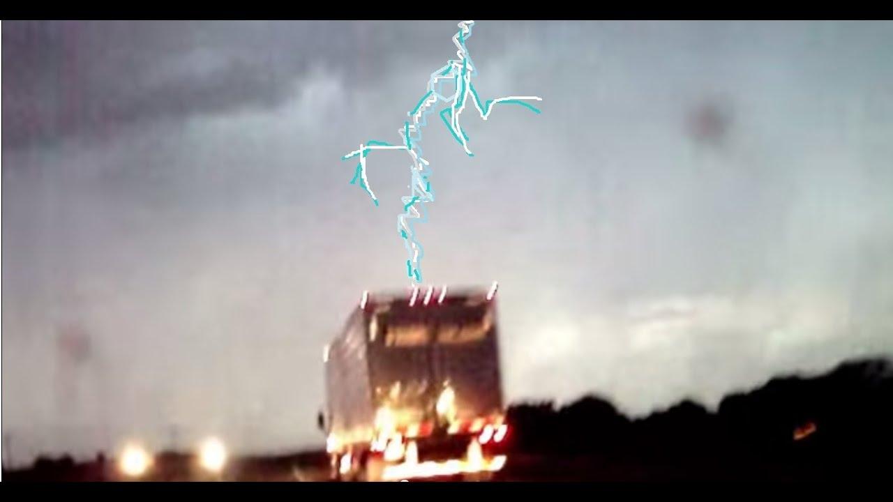 Lightning Strikes Semi Truck Driving 65 Mph Huge Fireball