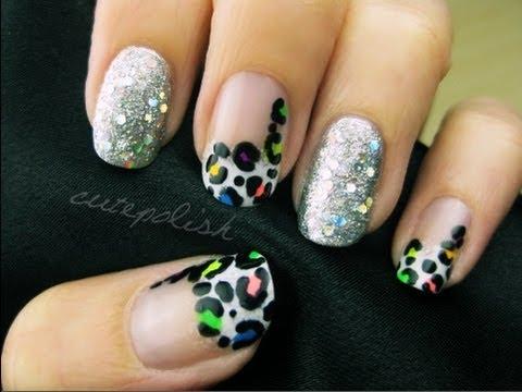 Glamorous Neon Leopard Nail Art