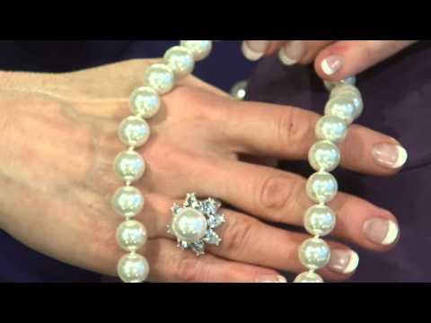 The Elizabeth Taylor Simulated Pearl Drop Earrings with Mary Beth Roe