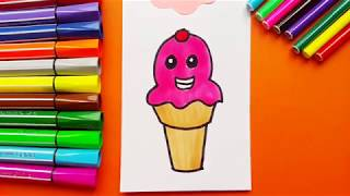 Very Funny Drawing Happy Icecream For kids