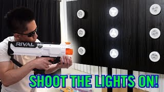 light em up nerf game shoot the tap lights challenge