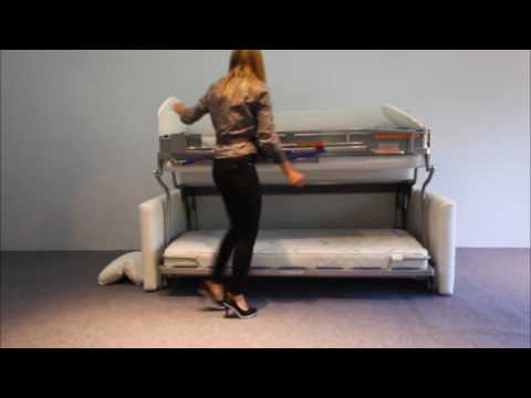 wall bed sofa mit doppelstock bett youtube. Black Bedroom Furniture Sets. Home Design Ideas