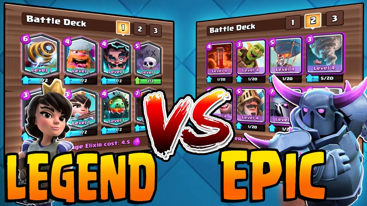 Clash royale all legendary vs all epic deck insane all for Clash royale deck arc x