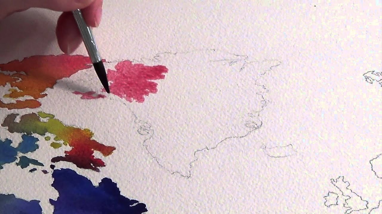 Watercolor world map youtube watercolor world map gumiabroncs Choice Image