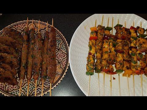 brochettes-de-viande-marinées-a-la-marocaine-(poulet-et-kefta-de-boeuf)