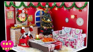 Doll Christmas Room, DIY Miniature Dollhouse Kit With Working Lights