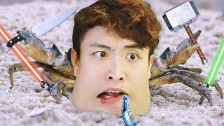 【螃蟹大戰🦀】🤣當螃蟹成為地球上最強生物!還有「激光劍」?打到流口水了...FIGHT CRAB