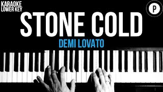 Demi Lovato - Stone Cold Karaoke SLOWER Acoustic Piano Instrumental Cover Lyrics LOWER KEY