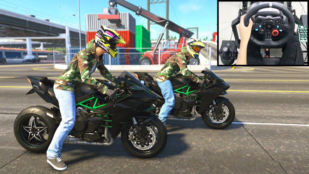 Kawasaki Ninja H2 - The Crew 2 Online | Logitech g29 gameplay