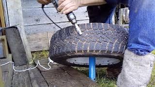 Нарезаем протектор на колёсах.