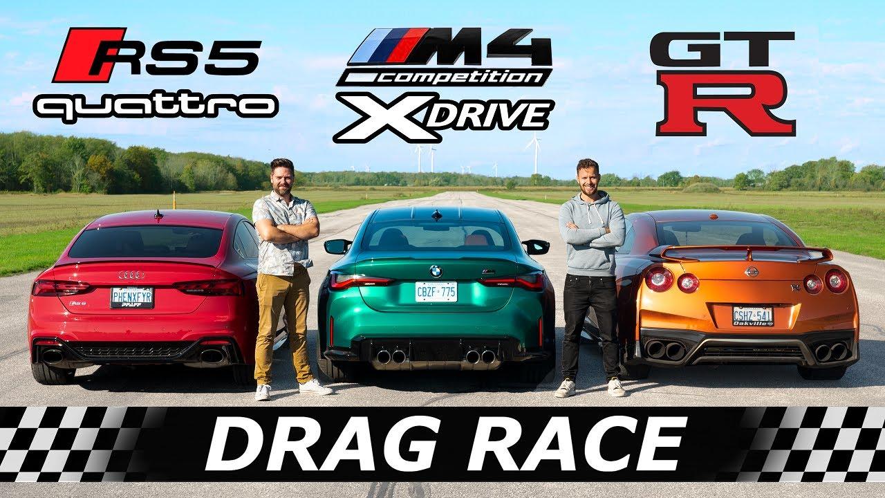 2022 BMW M4 XDRIVE vs Audi RS5 vs Nissan GTR // AWD DRAG & ROLL RACE + SURPRISE Contender