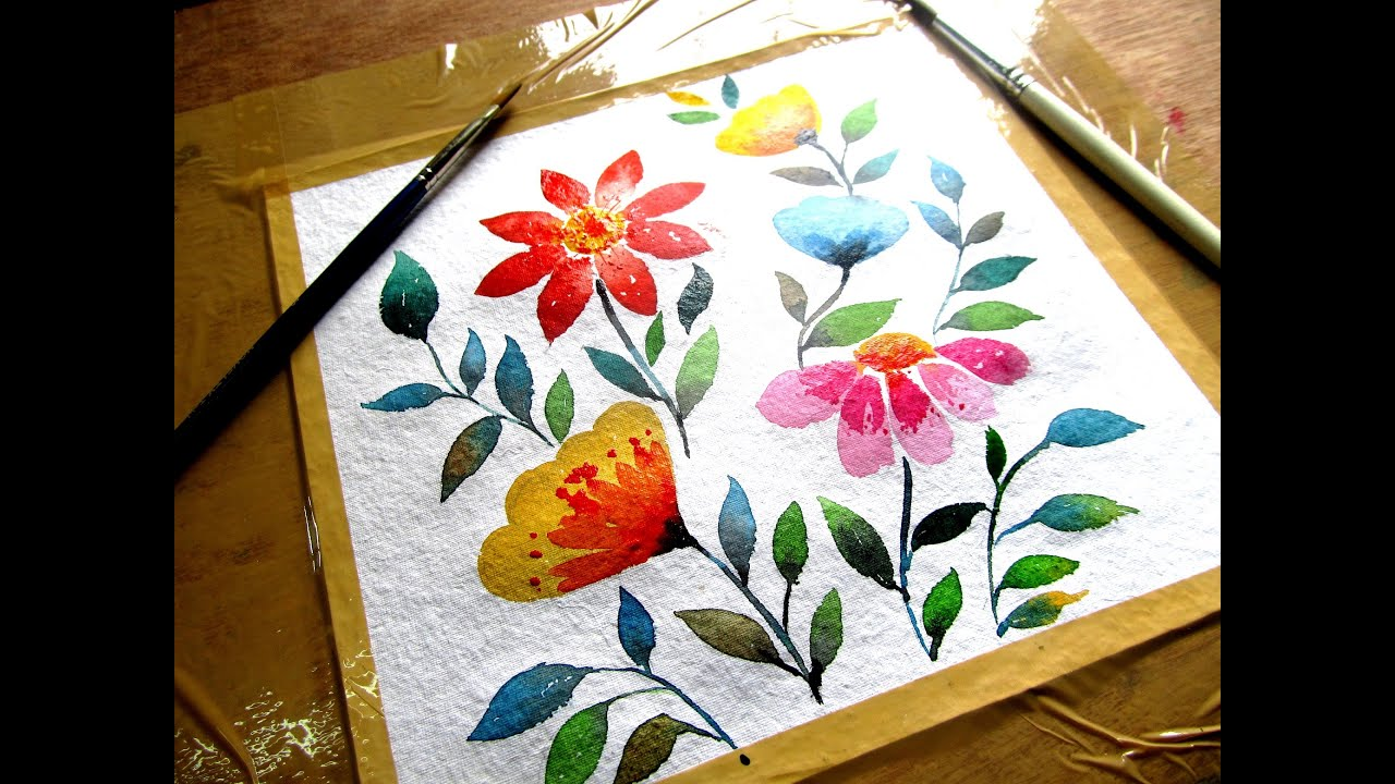 Simple flower painting with watercolor, watercolor ...