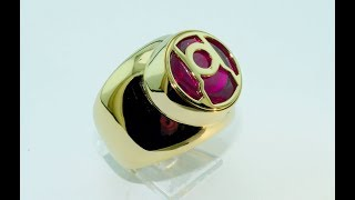 handmade 18kt gold ring Red Lanterns Corps with synthetic ruby
