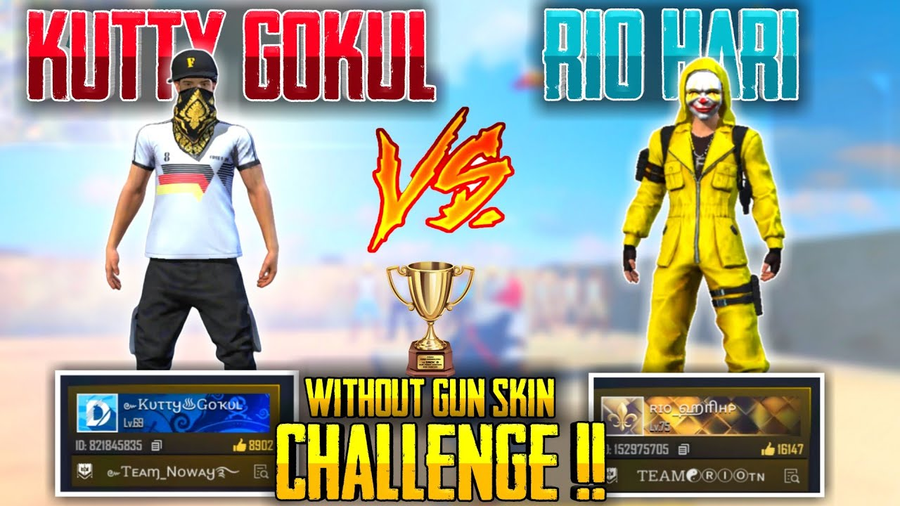 Rio Hari Vs Kutty Gokul Without Gun Skin Challenge || Free Fire Tricks Tamil || Sk Gaming