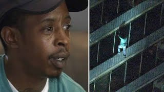 Man climbing 19-story building during fire was looking for mother