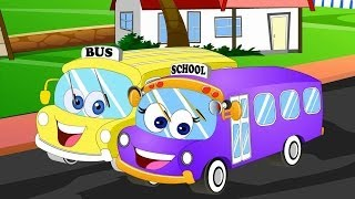 Repeat youtube video Wheels on the bus | Wheels on the bus go round and round | Nursery rhymes
