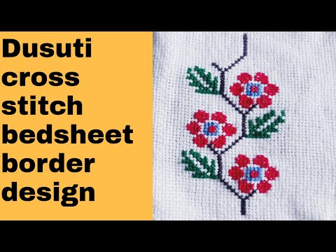 Dusuti bedsheet embroidery/cross stitch border design