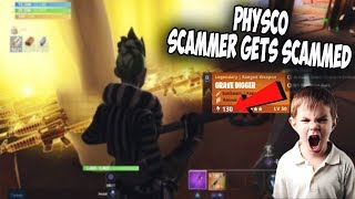 *PSYCHO* SCAMMER GETS SCAMMED FOR 100 GRAVE DIGGERS(fortnite save the world)