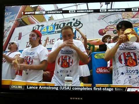 Hot Dog Eating Contest Joey Chestnut Wins 2009 Hotdog ...