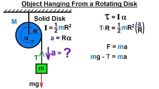 Physics - Application of the Moment of Inertia (5 of 11) Object Hanging From a Rotating Disk