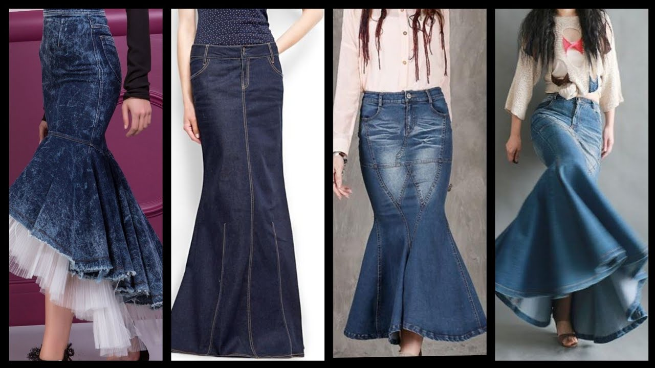 [VIDEO] - simple and elegant tulle length denim mermaid skirts design and outfit ideas for girls and women 1