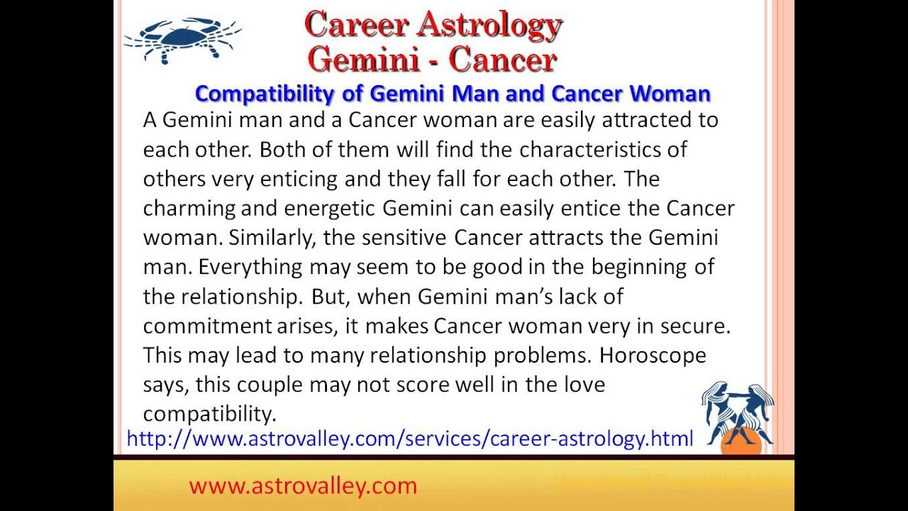 cancer woman dating gemini man I'm not a cancer man however, i've been dating a cancer man for 6 years (i'm a pisces) anywho, my cancer was married to a gemini woman for 9 years.