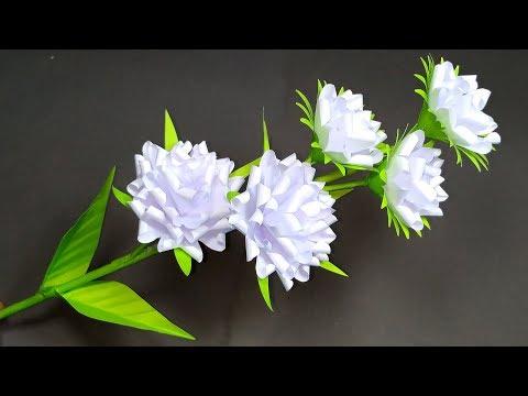 Flower Making: Easy Paper Craft flower Idea! DIY Paper Stick Flower | Jarine's Crafty Creation