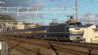JR貨物 EF66 27号機が牽引する2059レ貨物列車を山崎-島本間で撮影(H30.12.12)