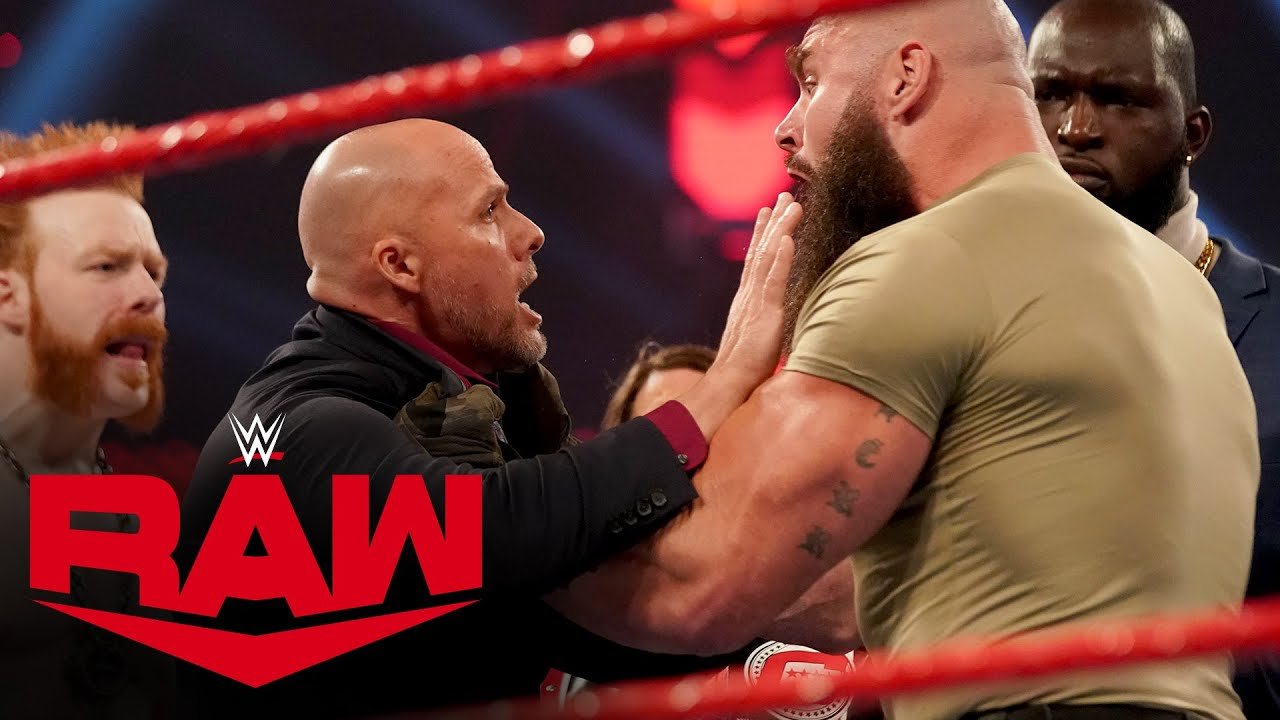 Download Braun Strowman attacks Adam Pearce amid Team Raw chaos: Raw, Nov. 23, 2020