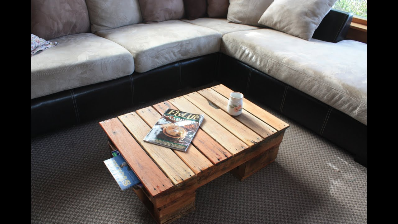 Couchtisch Holz Und Glasplatte Diy Pallet Coffee Table - Youtube
