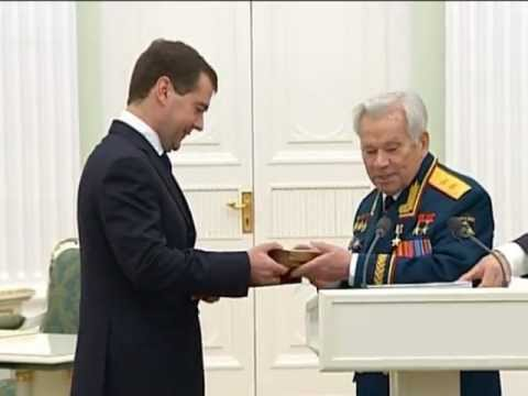 WEAPONS DESIGNER  KALASHNIKOV received country's HIGHEST AWARD - the HERO OF RUSSIA Gold Star