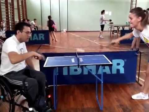 playing table tennis on little table - mini table tennis - youtube