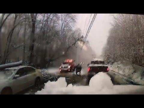 Tree branch collapses on power line in New York during nor'easter