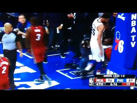 D Wade Showing Some Love to Simmons Mid Layup With a Hug (Game 2 NBA Playoffs Sixers vs. Heat)