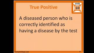 2x2 Table False Positive False Negative True Positive True Negative for screening Tests