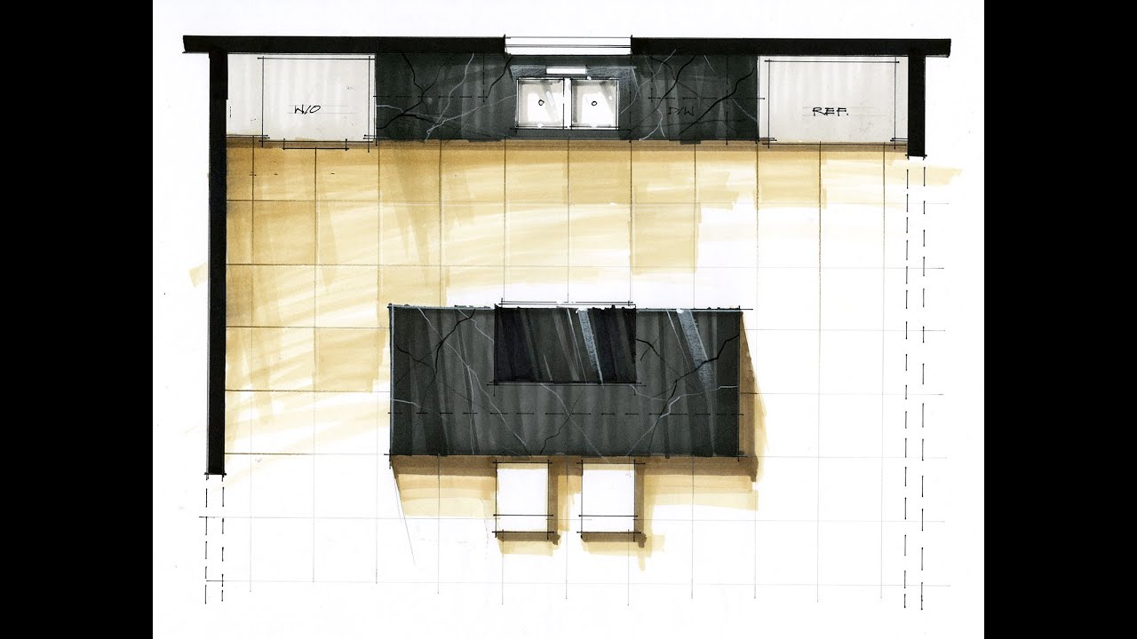 Tutorial hand rendering kitchen plan 160223 youtube How do you design a kitchen