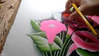 Ensinando a pintar copos de leite rosa com lia Ribeiro