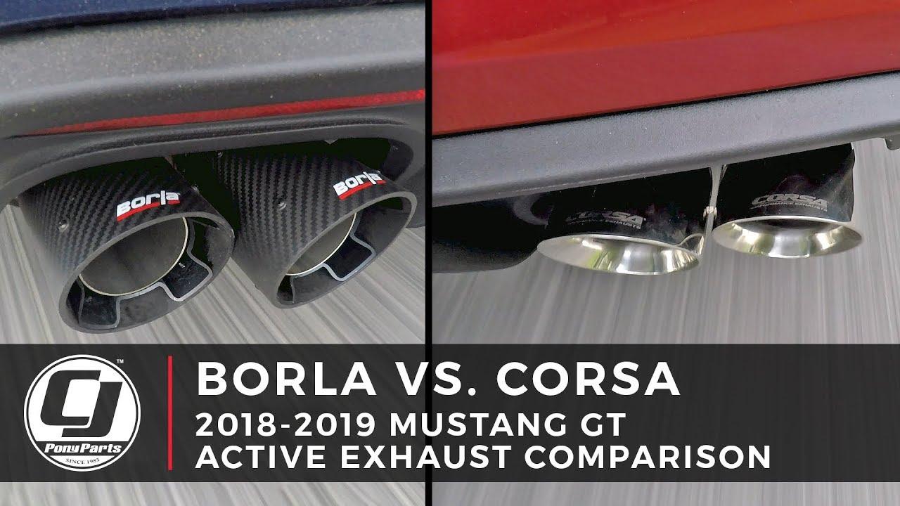 mustang active exhaust comparison borla vs corsa