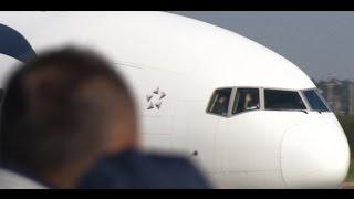 ☆パイロットからお手振り!!エジプト航空 (EgyptAir)Boeing 777-36N/ER Landing Narita RWY34R成田空港!東雲の丘