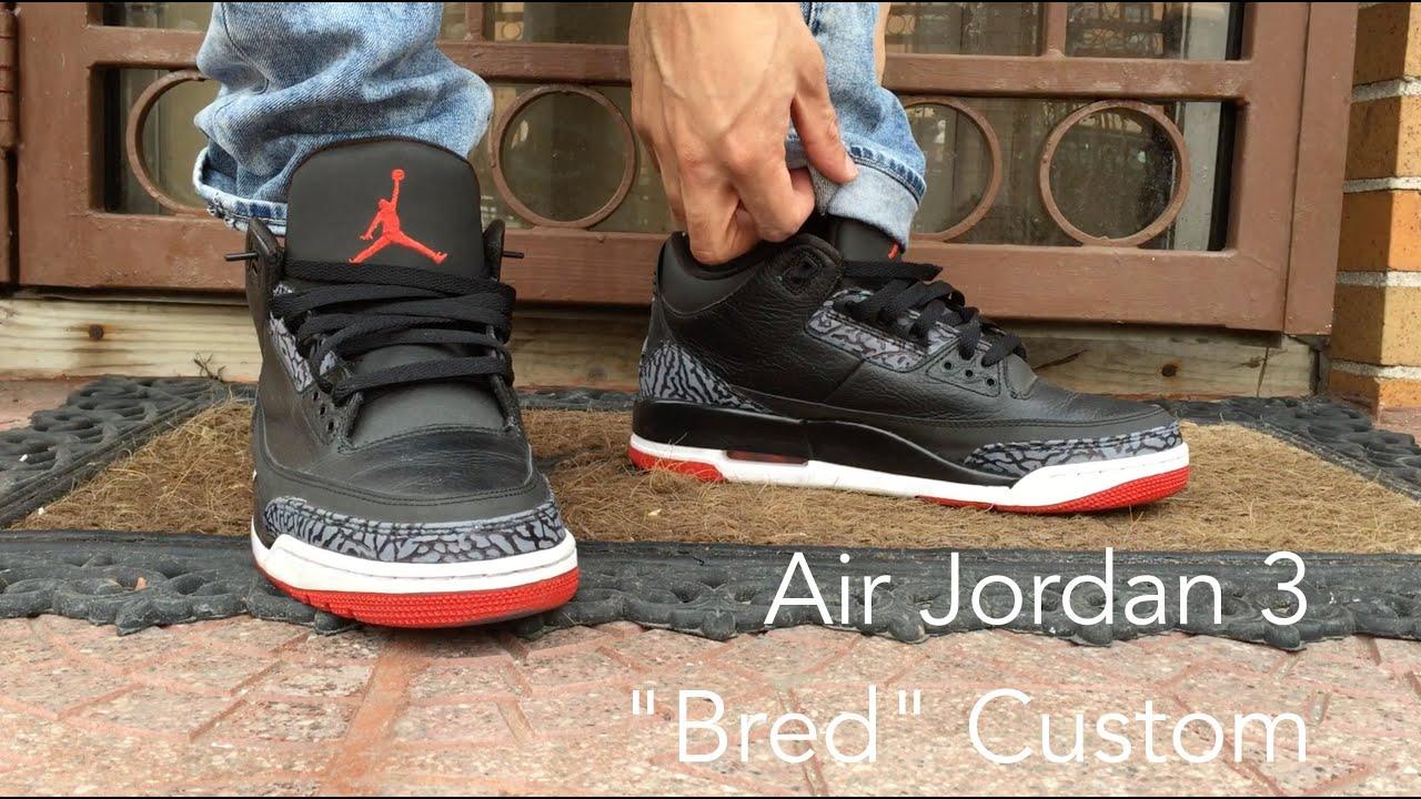 9f1e50f54be945 ... order air jordan 3 bred custom on foot youtube d184d 3076d