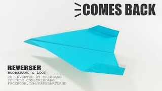 BOOMERANG PAPER PLANE TUTORIAL - How to make a Paper Airplane that COMES BACK | ReverseR