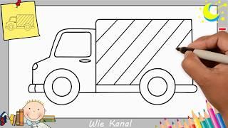 LKW zeichnen lernen einfach schritt für schritt für anfänger u0026 kinder 1