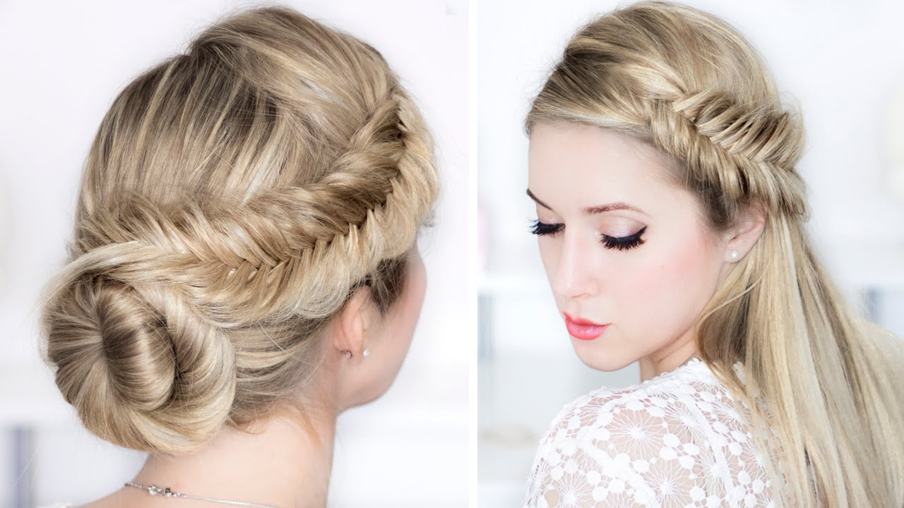 Prom Wedding Party Hairstyles Easy Day To Night Udpo Fishtail Braid Updo Hair Tutorial You