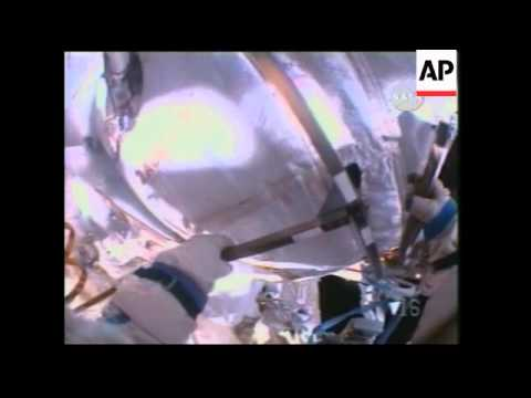 US astronaut and Russian cosmonaut in six hour spacewalk