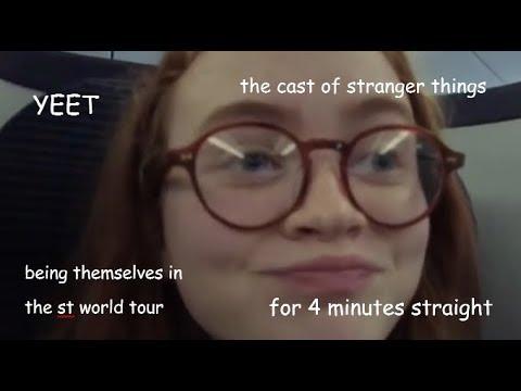 the cast of stranger things being themselves in the st world tour for 4 minutes straight